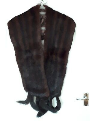 Vintage GENUINE Brown Mink Fur Stole With Black Tails c.1950's