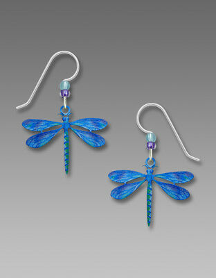Sienna Sky BLUE DRAGONFLY Earrings Sterling Silver Dangle USA Made 2002 + Box