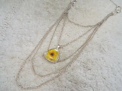 Silvertone Multi Chain Yellow Dried Flower in Acrylic Necklace (C53)