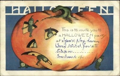 Halloween - Imps in Pumpkin Whitney c1920 Postcard Party Invitation