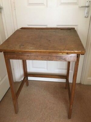 Old Original Folding School Desk With Ink Well