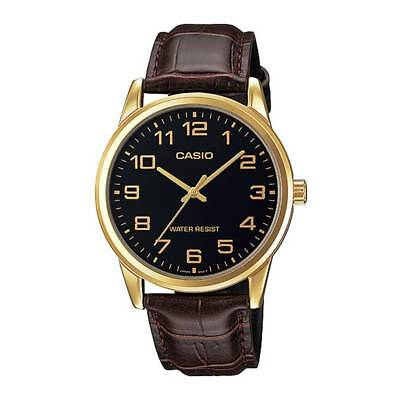 Casio MTP-V001GL-1B Men's Gold Tone Leather Band Easy Reader Black Dial Watch WT