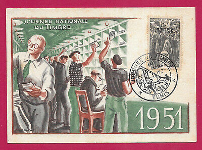 Tunis Tunisie Journee Du Timbre 1951 Lettre Cover