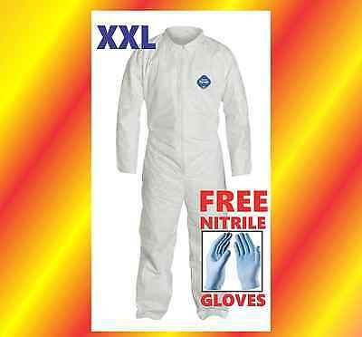 XXL Tyvek Protective Coveralls Suit Hazmat Clean-Up Chemical FREE Nitrile Gloves