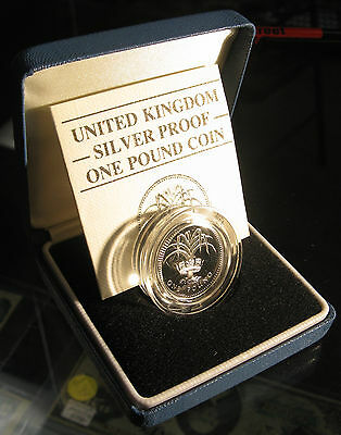 1985 UK Wales Leek Silver Pound Welsh Proof Coin in Box with COA