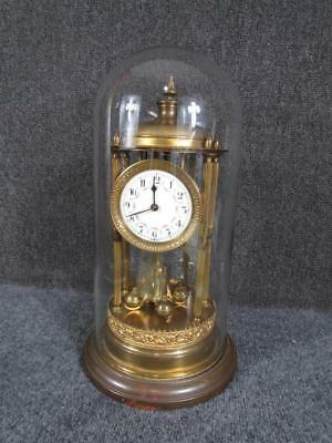 *rare Model* Antique German Torsion Clock, Gazebo Form, Glass Dome