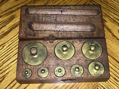 Antique / Vintage Set of Brass Weights in Wood Box