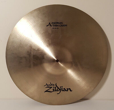 "Avedis Zildjian A 18"" Medium Thin Crash Cymbal for Drum Kit in good condition"