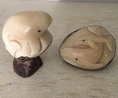 Pair Of Carved Whale / Mother & Baby Calf Tagua Nut Figures