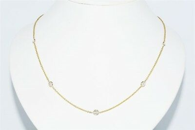 $4,200 1.25Ct Natural Round Cut Diamond By The Yard Necklace 14K Yellow Gold