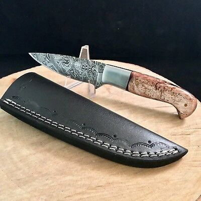 """Drop Point Hunter Damascus Steel Hunting Knife Cold Steel Outdoors 8.5"""" Resin Ha"""
