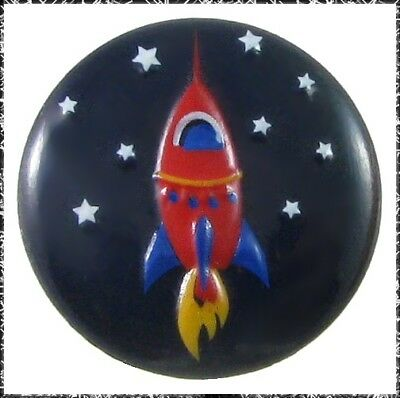 Dark Blue Plastic Rocket Ship and Stars Button