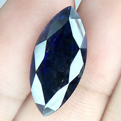 14.88 Cts Famous Huge Unheated Special Marquise Navy Blue Natural Sapphire