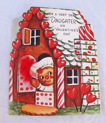 Vintage Valentine's Day Card~ GINGERBREAD BOY & HOUSE~Rust Craft ~Greeting~Candy