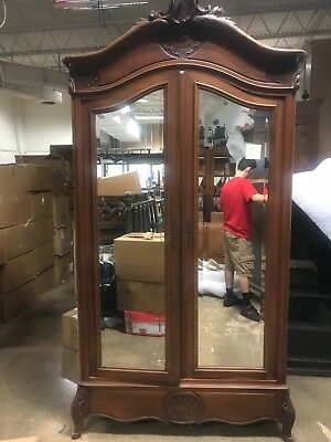 Gorgeous 19th Century French Carved Walnut Armoire Beveled Mirror Doors