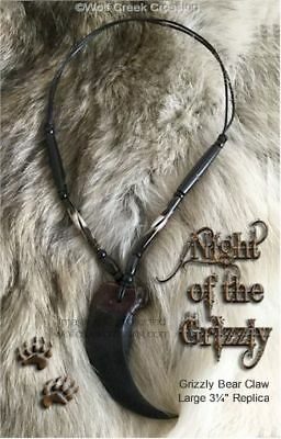 "LARGE 3¼"" BIG Ol' BEAR CLAW NECKLACE MOUNTAIN MAN GRIZZLIES REPLICA - FREE SHIP"