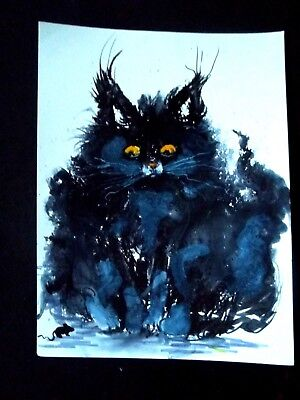 """Original abstract art BLACK CAT /mouse  paper drawing signed dated 9"""" x 12"""""""
