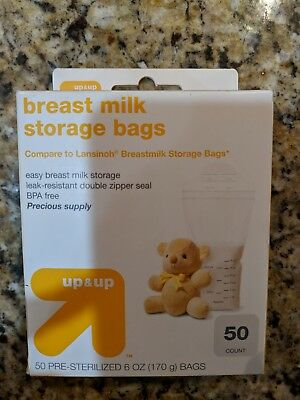 Up & Up 50 Count 6 oz Pre-Sterilized Breast Milk Storage Bags NEW Unopened