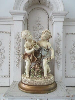 STUNNING Old Vintage STATUE 2 Beautiful Yound WOMEN GIRLS in Nice Pose on Base F
