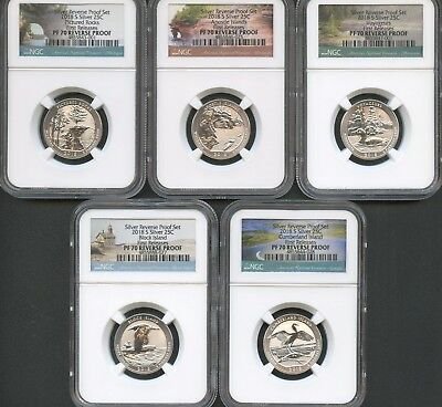 2018 S Silver Quarter Set (5 Pieces) REVERSE PROOF NGC PF70 FIRST RELEASES.