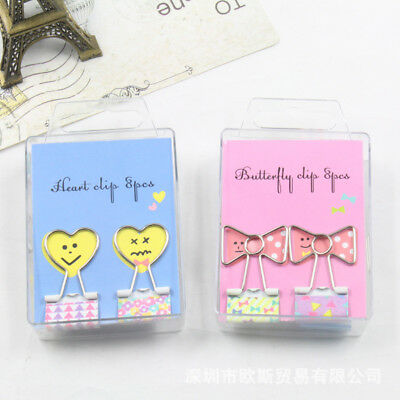 8Pcs 19mm Cartoon Clip Binder Clips Cute Office Organizer Paper Clip File Folder