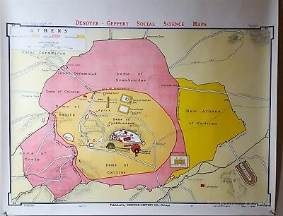 School Wall Map Ancient Athens Denoyer-Geppert B8 1967