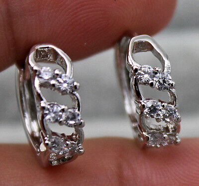 18K White Gold Filled - Hollow Swirl Topaz Zircon Wedding Gemstone Hoop Earrings