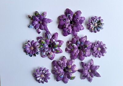 10 x Handmade Die Cut Flowers #2 - Perfect for Scrapbooking,Cards
