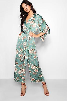 Boohoo Womens Floral Batwing Jumpsuit