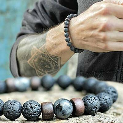 Men Women Natural Stone 8mm Lava Rock Bracelet Elastic Yoga Beads Bracelet