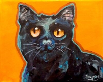 Original 8x10 in. Canvas Colorful Acrylic Expressionism Bombay Cat Painting