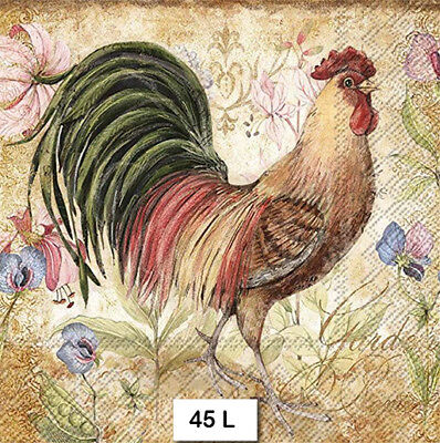 (45) TWO Individual Paper Luncheon Decoupage Napkins - ROOSTER, CHICKEN, BIRD