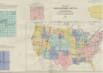 United States Map Showing Indian Reservations; Hand Colored: Dated 1905 on Map