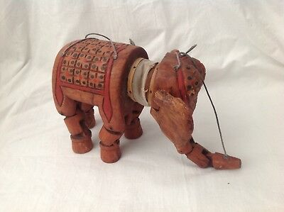 antique carved Indian wood wooden elephant toy puppet