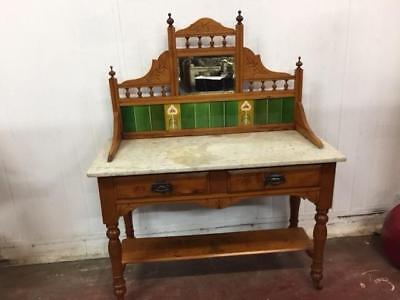 E39014 Vintage Huon Pine Tiled Back Washstand Marble Top Dressing Table