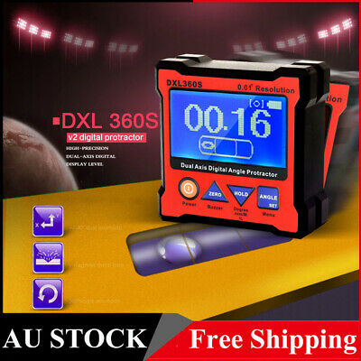 Dual Axis 0.01° Resolution Digital Angle Protractor Inclinometer Level Gauge AU
