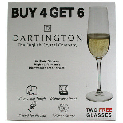 Dartington Crystal Pack of 6 Flute Glasses 200ml