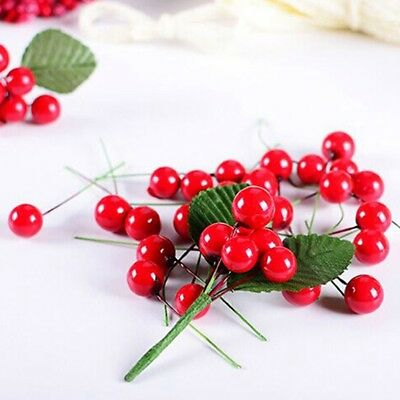 50x/100x Artificial Red Gold 12mm Christmas Holly Berries Leaves DIY Home Decor
