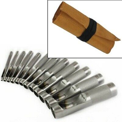 12PC PRECISION HOLLOW PUNCH SET 3mm-19mm GASKET HOLE CUTTER + LEATHER TOOL ROLL