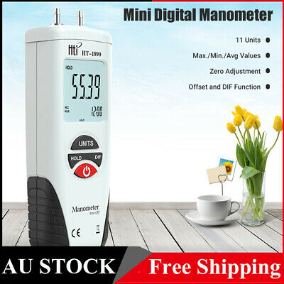Digital Manometer Differential Gauge Air Pressure Meter Data Hold 11 Units W6W5
