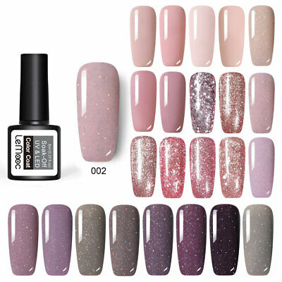 LEMOOC 8ml Glitter UV Gel Rose Gold  Color Nail Art Polish  24Colors