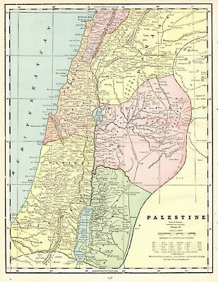 1902 Antique PALESTINE Map Gallery Wall Art Vintage Map of Palestine 5743