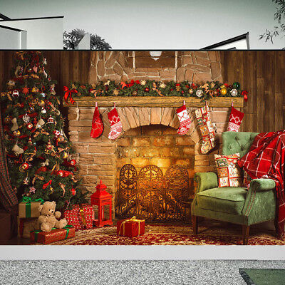 AU 7x5FT Christmas Tree Fireplace Wall Photography Background Backdrops Props