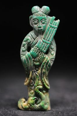 Excellent old jade carved Ancient people musician Statue/Pendant Y39
