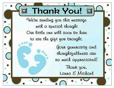 20 Polkadot Baby Feet Baby Shower Thank You Cards