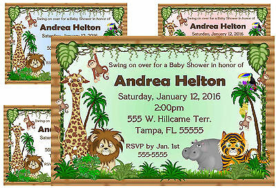 JUNGLE BABY SHOWER INVITATIONS DESIGN ~ assorted colors