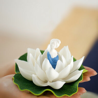 handmade ornament zisha porcelain lotus penal beauty statue tea pet small size