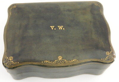 LARGE ANTIQUE EARLY 1900s GREEN LEATHER ITALIAN JEWELRY BOX GOLD ACCENT