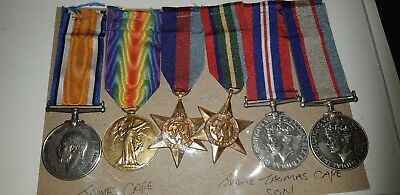 FAMILY GROUP: Father 2&Son 4 :British War Medal 1914-18; Victory Medal 1914-19;
