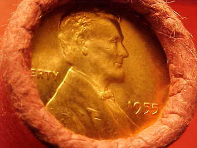 1955-P Obw Original Bank Wrapped Roll Bu Uncirculated Lincoln Wheat Cent Pennies
